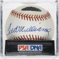 Autographs:Baseballs, Ted Williams Single Signed Baseball, PSA NM+ 7.5. Widely consideredthe greatest hitter of all time, Ted Williams dominated ...