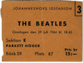 Music Memorabilia:Tickets, Beatles Swedish Concert Ticket. A used ticket to their July 29,1964, performance at the Johanneshovs Isstadion in Stockholm...(Total: 1 Item)
