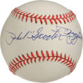 "Autographs:Baseballs, Phil ""Scooter"" Rizzuto Single Signed Baseball. The Hall of FameYankee shortstop has applied an exceptional sweet spot sign..."