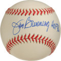 "Autographs:Baseballs, Jim Bunning ""HOF 96"" Single Signed Baseball. The Hall of Famepitcher-turned politician was second only to Walter Johnson o..."