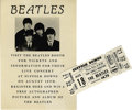 Music Memorabilia:Tickets, Beatles Suffolk Downs Concert Ticket and Handbill. An unused whiteGrandstand Terrace ticket to the band's August 18, 1966, ...