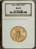 Modern Bullion Coins: , 2001 G$25 Half-Ounce Gold Eagle MS69 NGC. PCGS Population(1458/10). Numismedia Wsl. Price for NGC/PCGS...