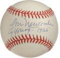 "Autographs:Baseballs, Don Newcombe ""Cy Young - 1956"" Single Signed Baseball. Regarded asthe first top-notch black pitcher to toss in the majors,..."