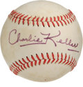 """Autographs:Baseballs, Charlie Keller Single Signed Baseball. A bruiser of a man whoearned the name """"King Kong"""" during his service with the New Y..."""