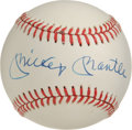Autographs:Baseballs, Mickey Mantle Single Signed Baseball. A crisp, clean exemplar ofthis hobby staple, Mantle's sweet spot signatures appears ...