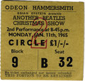 "Music Memorabilia:Tickets, ""Another Beatles Christmas Show"" Ticket Stub. From the January 11,1965, performance of the Holiday concert series at the Od..."