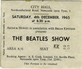 Music Memorabilia:Tickets, Beatles Newcastle Concert Ticket Stub. A used ticket from theirDecember 4, 1965, performance at the Newcastle-upon-Tyne Cit...
