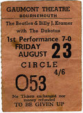 Music Memorabilia:Tickets, Beatles/Dakotas Bournemouth Concert Stub. A used ticket from theBoys' August 23, 1963, performance at the Gaumont Theatre i...