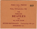 Music Memorabilia:Tickets, Beatles Preston Concert Ticket. A ticket for their September 13,1963 performance at the Public Hall in Preston. After this...