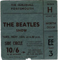 Music Memorabilia:Tickets, Beatles Portsmouth Concert Ticket. From their November 12, 1963,performance at the Guildhall in Portsmouth -- a show that w...