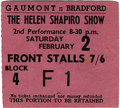 Music Memorabilia:Tickets, Helen Shapiro/Beatles Ticket. A used ticket for a February 2, 1963performance at the Gaumont Cinema, the opening night of ...