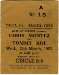 Music Memorabilia:Tickets, Beatles York Concert Ticket Stub. A used ticket to their March 13,1963 performance at the Rialto Theatre in York, opening ...