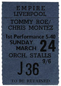 Music Memorabilia:Tickets, Beatles Liverpool Concert Stub. A used ticket to their March 24,1963, performance at the Empire Theatre in Liverpool, in su...
