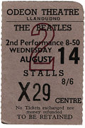 Music Memorabilia:Tickets, Beatles Llandudno Concert Stub. A used ticket to the band's August14, 1963 second evening performance at the Odeon Theatre...