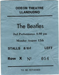 Music Memorabilia:Tickets, Beatles Odeon Theatre Concert Ticket. Ticket for an August 12, 1963second performance show at the Odeon Theatre in Llandud...