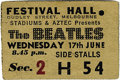 Music Memorabilia:Tickets, Beatles Melbourne Concert Ticket Stub. A used ticket from theirJune 17, 1964, performance at the Festival Hall in Melbourne...(Total: 1 Item)