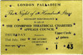 "Music Memorabilia:Tickets, Beatles London Palladium Concert Ticket. Used ticket to theBeatles' July 23, 1964 ""The Night of a Hundred Stars"" midnight r...(Total: 1 Item)"