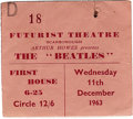 Music Memorabilia:Tickets, Beatles Scarborough Concert Ticket Stub. From their December 11,1963 performance at the Futurist Theatre in Scarborough. I...
