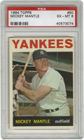 Baseball Cards:Singles (1960-1969), 1964 Topps Mickey Mantle #50 PSA EX-MT 6. A nice photo shows offMantle's physique with this quality example from the 1964 ...