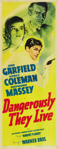 """Movie Posters:War, Dangerously They Live (Warner Brothers, 1942). Insert (14"""" X36"""")...."""