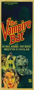 "Movie Posters:Horror, The Vampire Bat (Majestic Pictures, Inc., 1933). Insert (14"" X36""). ..."