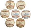 Autographs:Baseballs, 1940's -1960's Minor League Team Signed Baseballs lot Of 7. ...