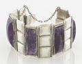 Silver Smalls:Other , A MEXICAN SILVER AND AMETHYST QUARTZ BRACELET. Fred Davis, MexicoCity, Mexico, circa 1940. Marks: FD, MADE IN MEXICO. 7...