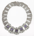 Silver Smalls:Other , A MEXICAN SILVER, TURQUOISE AND AMETHYST QUARTZ NECKLACE. RicardoSalas, Mexico City, Mexico, circa 1965. Marks: Matl, MS-...