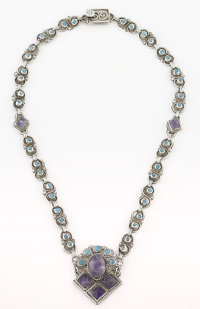A MEXICAN SILVER, TURQUOISE AND AMETHYST QUARTZ NECKLACE Matilde Poulat, Mexico City, Mexico, circa 1950 Marks: