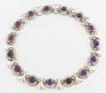 Silver Smalls:Other , A MEXICAN SILVER AND AMETHYST QUARTZ NECKLACE. Fred Davis, Mexico City, Mexico, circa 1935. Marks: FD, SILVER, MADE IN ME...