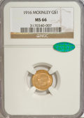 Commemorative Gold: , 1916 G$1 McKinley MS66 NGC. CAC. NGC Census: (325/69). PCGSPopulation (581/57). Mintage: 9,977. Numismedia Wsl. Price for ...