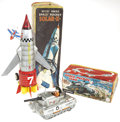 Antiques:Toys, Pair of Japanese Tin Battery-Operated Space Toys in the OriginalBoxes.... (Total: 2 Items)