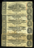 Confederate Notes:1863 Issues, T59 $10 1863. Six Examples.. ... (Total: 6 notes)