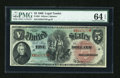 Large Size:Legal Tender Notes, Fr. 64 $5 1869 Legal Tender PMG Choice Uncirculated 64 EPQ....