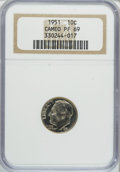 Proof Roosevelt Dimes, 1951 10C PR69 Cameo NGC....