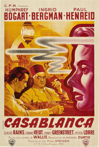 """Casablanca (Warner Brothers, 1940s). French Post-War Release Poster (31.5"""" X 47"""")"""