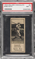 Baseball Cards:Singles (Pre-1930), 1924 Willard Chocolate Babe Ruth #5 PSA NM 7....