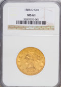 Liberty Eagles: , 1888-O $10 MS61 NGC. NGC Census: (210/117). PCGS Population (79/125). Mintage: 21,335. Numismedia Wsl. Price for NGC/PCGS c...