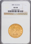 Liberty Eagles: , 1891-CC $10 AU58 NGC. NGC Census: (402/1210). PCGS Population (306/861). Mintage: 103,732. Numismedia Wsl. Price for NGC/PC...
