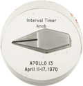 Explorers:Space Exploration, Apollo 13 Flown Interval Timer Knob in Lucite....