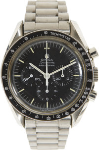 Apollo 17 Flown Omega Stainless Steel Speedmaster Professional Watch and Flown Metal Attachment Directly from the Person...