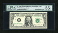 Fr. 1914-B $1 1988 Federal Reserve Note. PMG About Uncirculated 55 EPQ