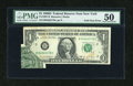 Error Notes:Foldovers, Fr. 1907-B $1 1969D Federal Reserve Note. PMG About Uncirculated50.. ...