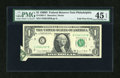 Error Notes:Foldovers, Fr. 1907-C $1 1969D Federal Reserve Note. PMG Choice Extremely Fine45 EPQ.. ...