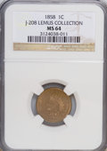 Patterns, 1858 P1C Indian Cent, Judd-208, Pollock-253-254, 259, 261, R.4-7, MS64 NGC. Ex: Lemus Collection. NGC Census: (15/5). P...
