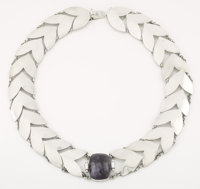 A MEXICAN SILVER AND AMETHYST QUARTZ NECKLACE Fred Davis, Mexico City, Mexico, circa 1930 Marks: FD, MADE IN