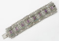 Silver & Vertu:Smalls & Jewelry, A MEXICAN SILVER , TURQUOISE AND AMETHYST QUARTZ BRACELET. Matilde Poulat, Mexico City, Mexico, circa 1950. Marks: Matl, M...