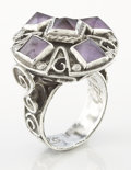 Silver Smalls:Other , A MEXICAN SILVER AND AMETHYST QUARTZ RING. Matilde Poulat, MexicoCity, Mexico, circa 1950. Marks: Matl, 925, Mexico. Ri...