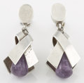Silver Smalls:Other , A PAIR OF MEXICAN SILVER AND AMETHYST QUARTZ EARRINGS. AntonioPineda, Taxco, Mexico, circa 1953. Marks: (Antonio crown), (...(Total: 2 Items)
