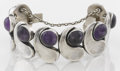 Silver Smalls:Other , A MEXICAN SILVER AND AMETHYST QUARTZ BRACELET. Antonio Pineda,Taxco, Mexico, circa 1955. Marks: (Antonio crown), MADE IN...